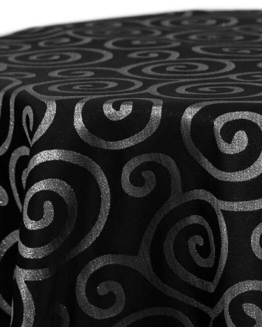Black Metallic Scroll Linen