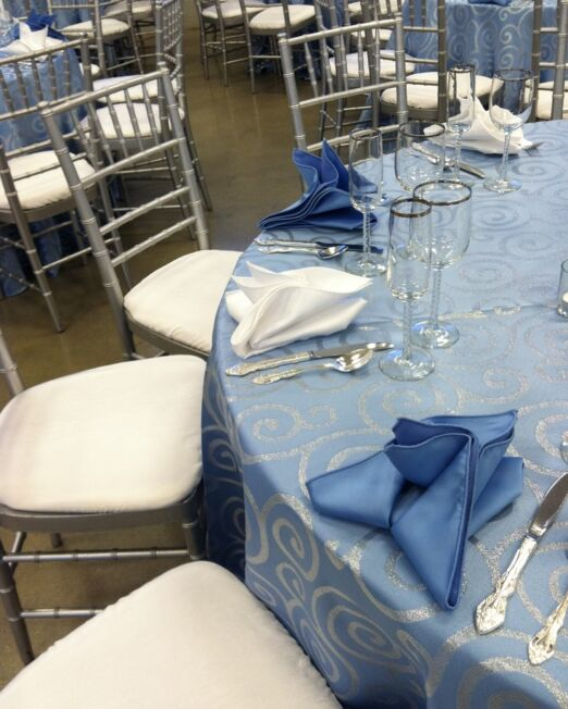 Blue Metallic Scroll Linen S