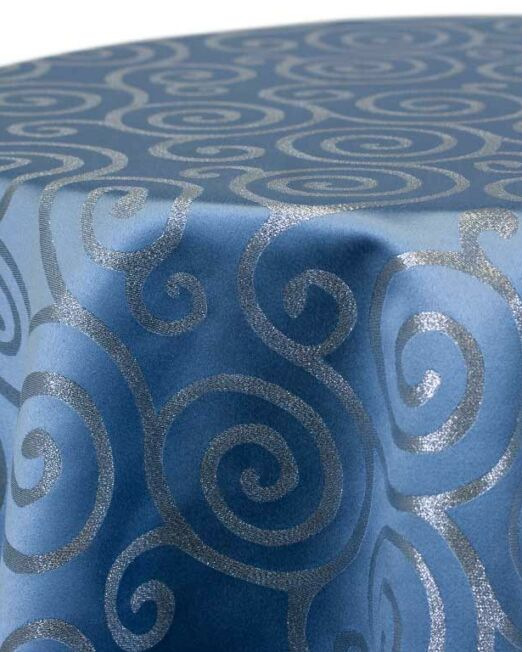 Blue Metallic Scroll Linen