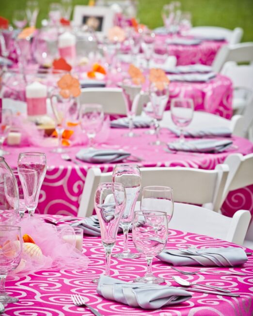 Pink Metallic Scroll Linen S